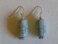 Cracked ceramic tube earrings